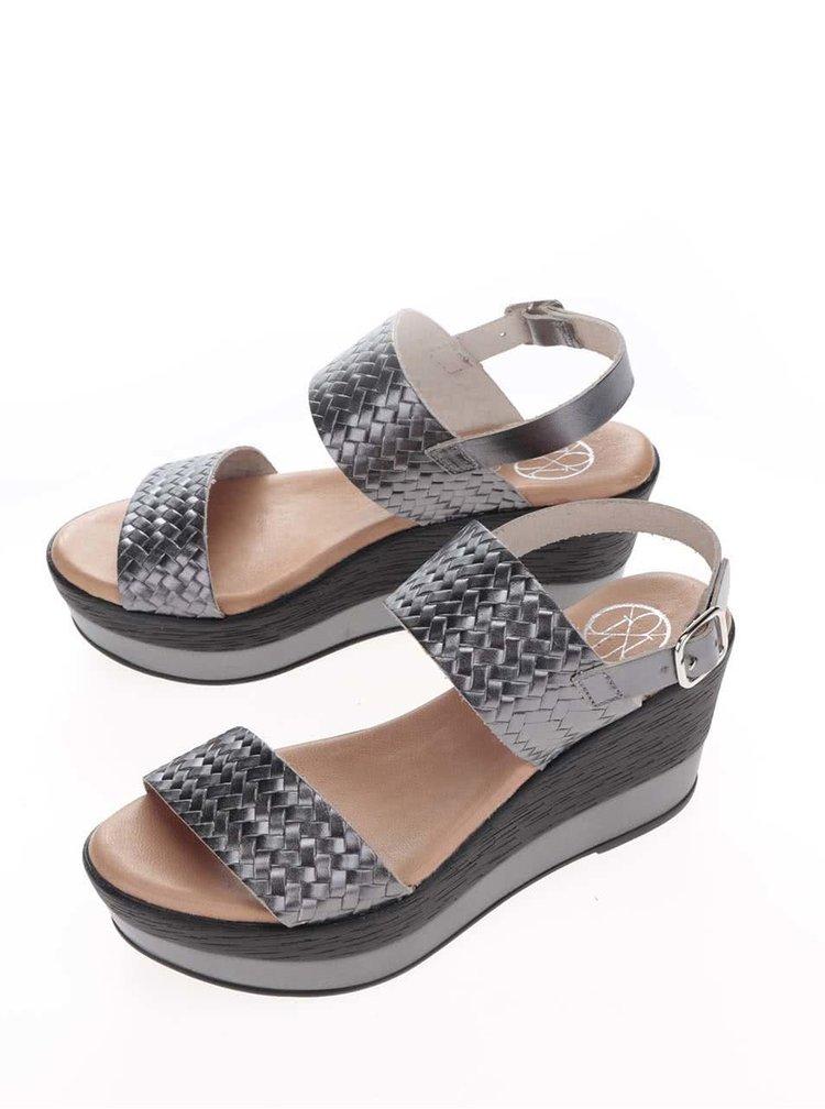 Sandale gri inchis din piele cu platforma OJJU