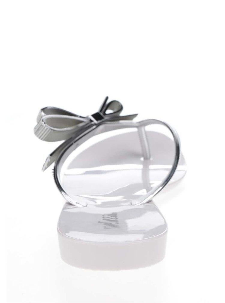 Bílé žabky s detaily ve stříbrné barvě Melissa Harmonic