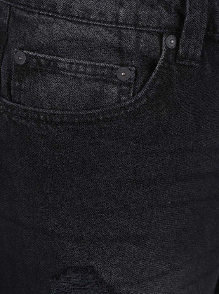 Černé džínové kraťasy s potrhaným efektem ONLY & SONS Weft