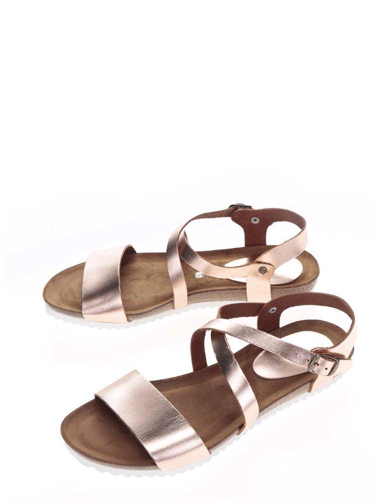 Kožené sandály v bronzové barvě OJJU