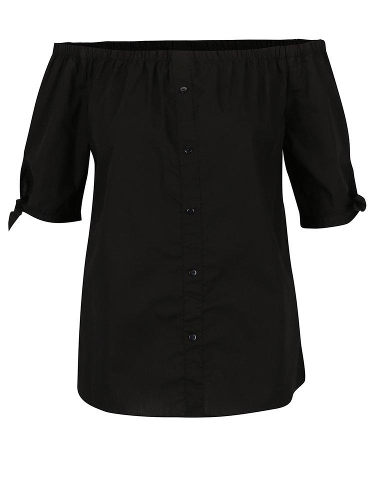 Bluză neagră Noisy May Andrea cu decupaj pe umeri