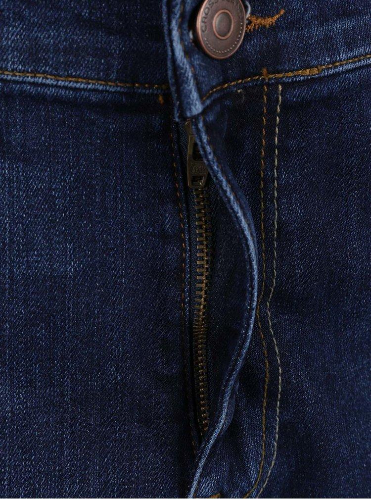 Tmavě modré pánské džínové kraťasy s ohrnutými lemy Cross Jeans