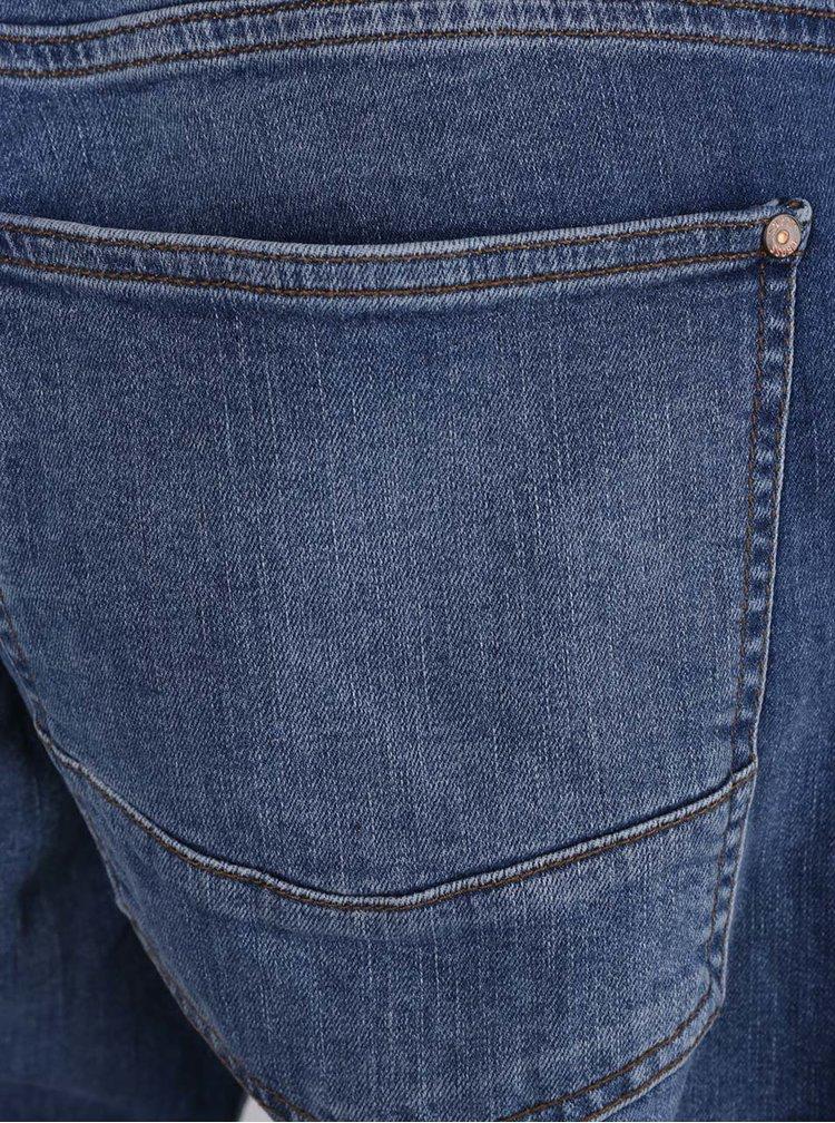 Bermude albastre Cross Jeans din denim cu aspect prespalat