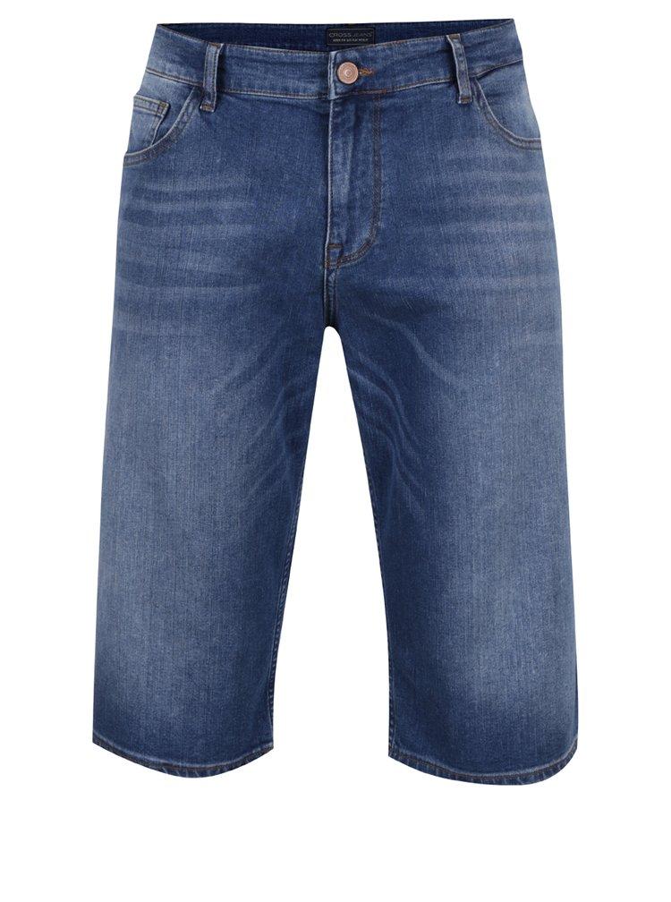 Modré pánské džínové kraťasy pod kolena Cross Jeans