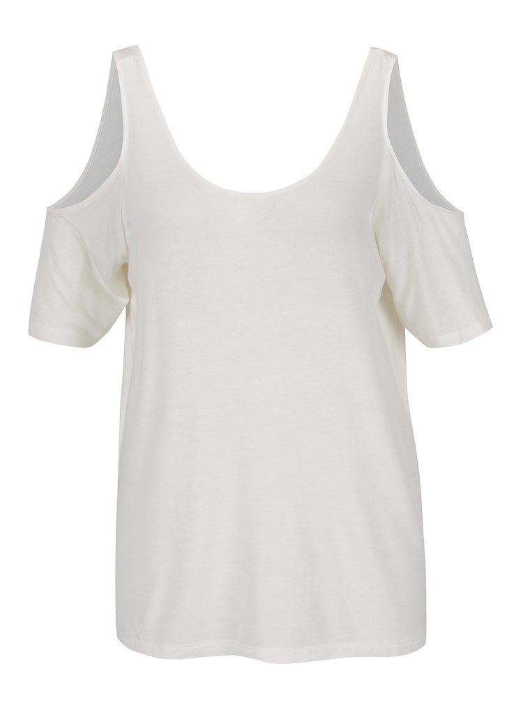 Krémové tričko s průstřihy na ramenou VERO MODA True