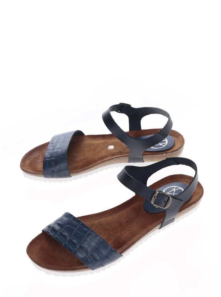 Tmavě modré kožené sandály OJJU