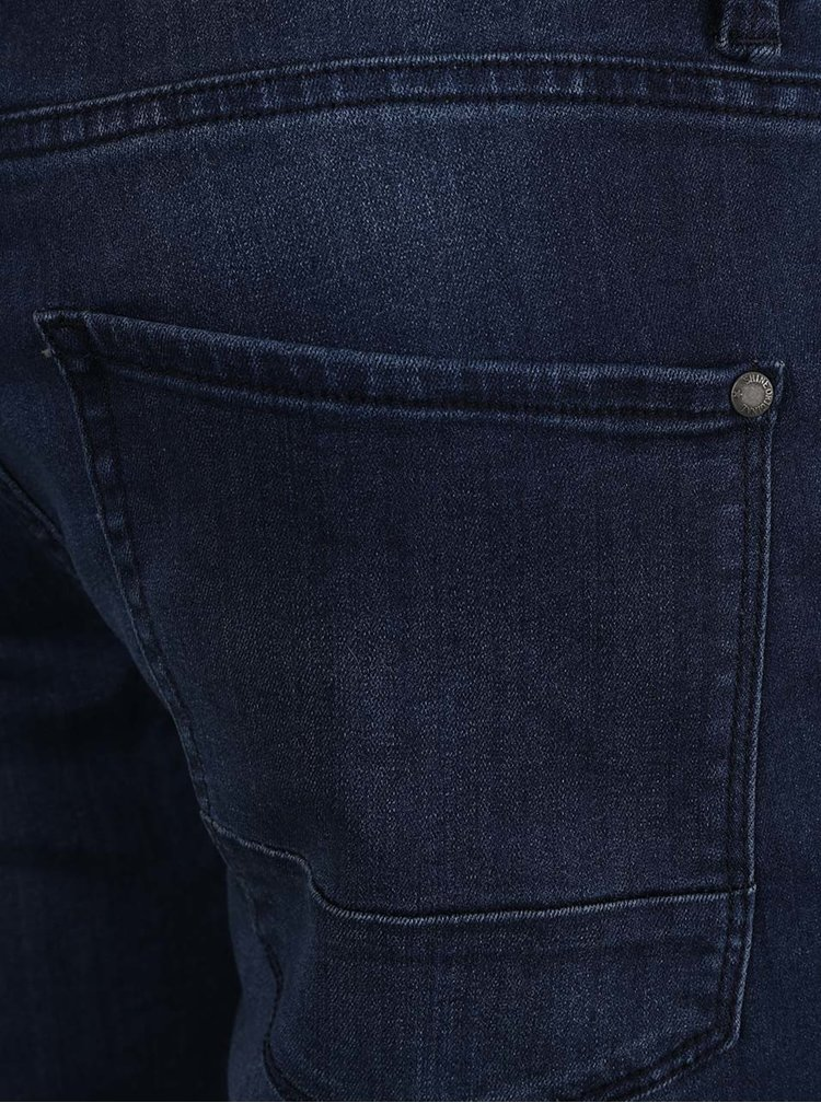 Pantaloni scurti albastru inchis Shine Original cu aspect prespalat