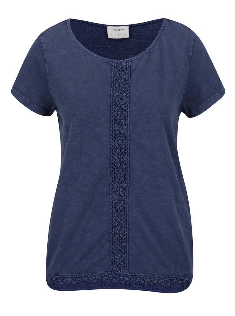 Tmavě modré žíhané tričko s krajkou VERO MODA Spirit