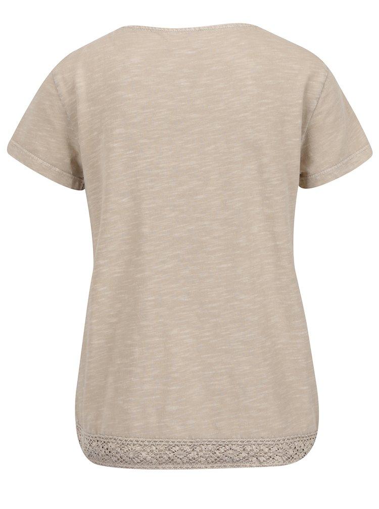 Béžové žíhané tričko s krajkou VERO MODA Spirit
