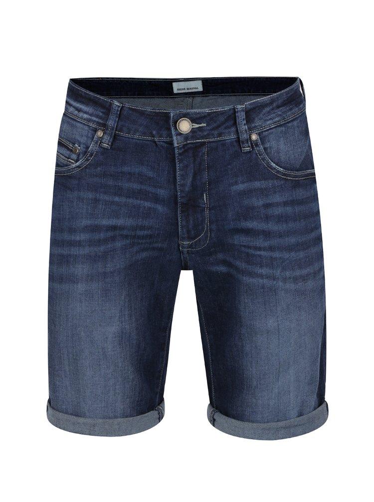 Tmavě modré džínové kraťasy s vyšisovaným efektem Shine Original