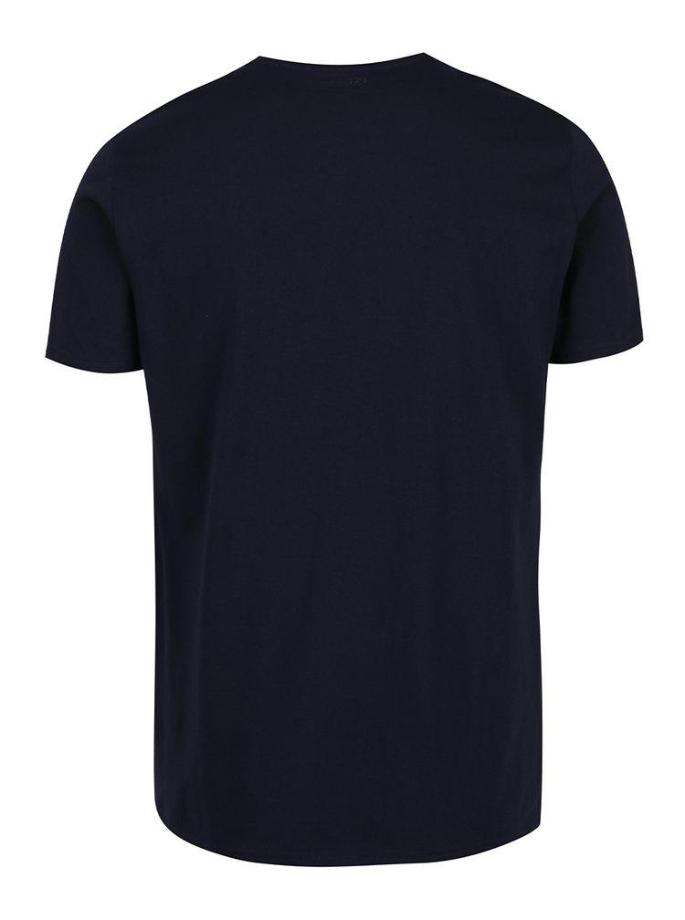 Modré triko s potiskem a krátkým rukávem !Solid Hannibal
