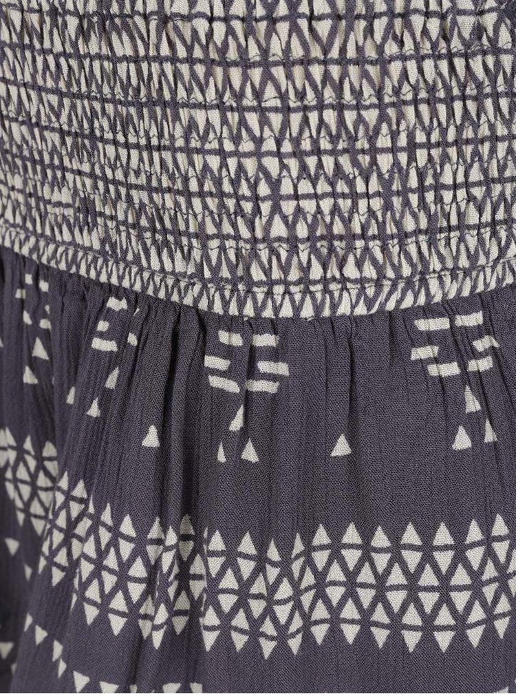 Šedomodrá vzorovaná sukně s volány VERO MODA Jamie
