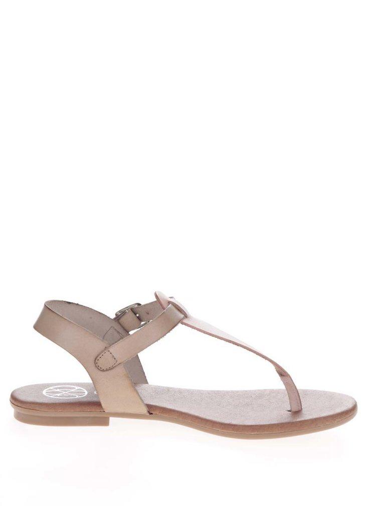 Růžovo-béžové kožené sandály OJJU
