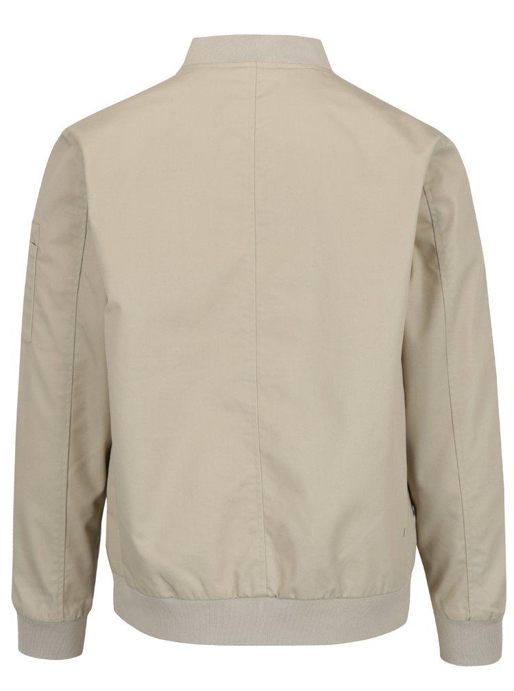Jachetă bomber bej Shine Original cu guler mao