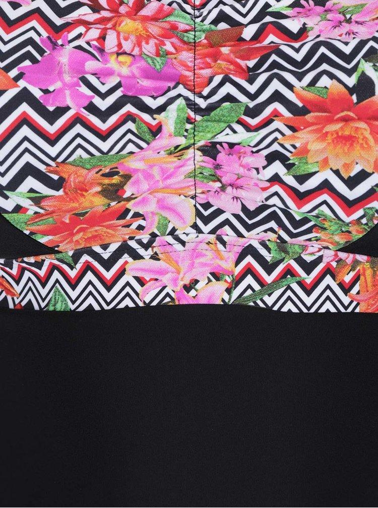 Růžovo-černé tankini plavky s květovanými detaily Ulla Popken