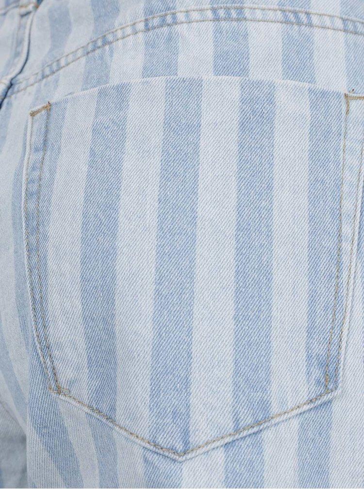 Světle modré pruhované džínové kraťasy VERO MODA Thirteen