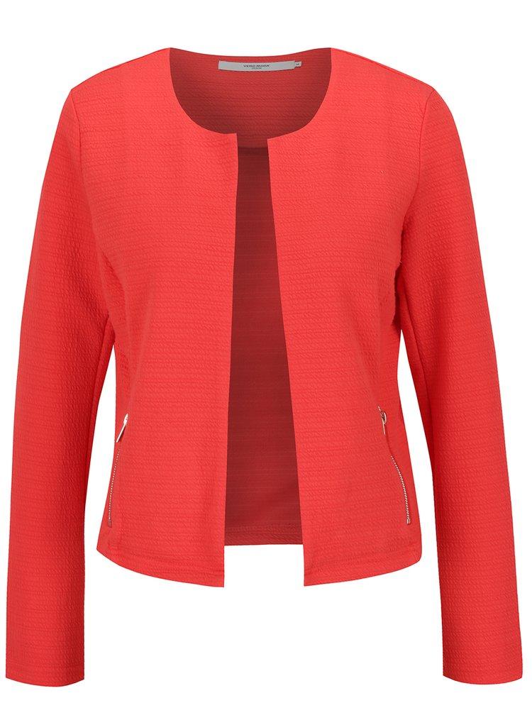 Červené sako s detailmi v zlatej farbe VERO MODA Struc