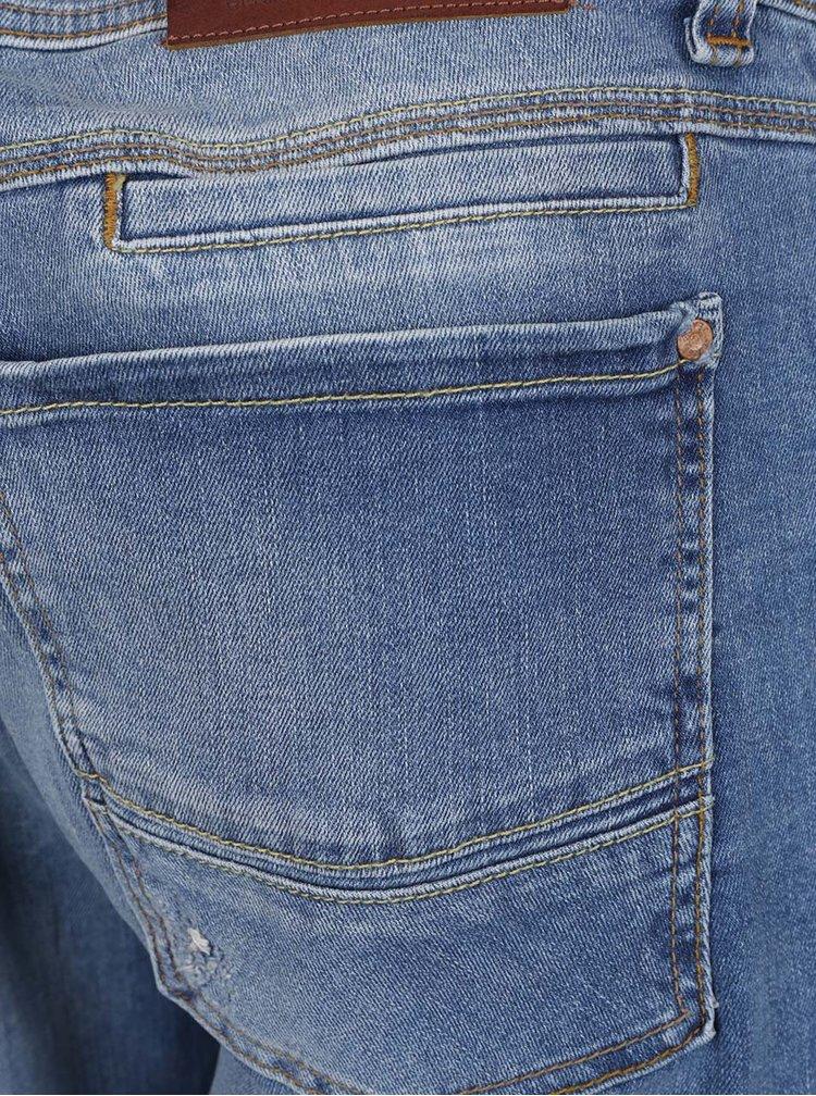 Blugi albastri Cross Jeans Dylan cu aspect prespalat si croi drept
