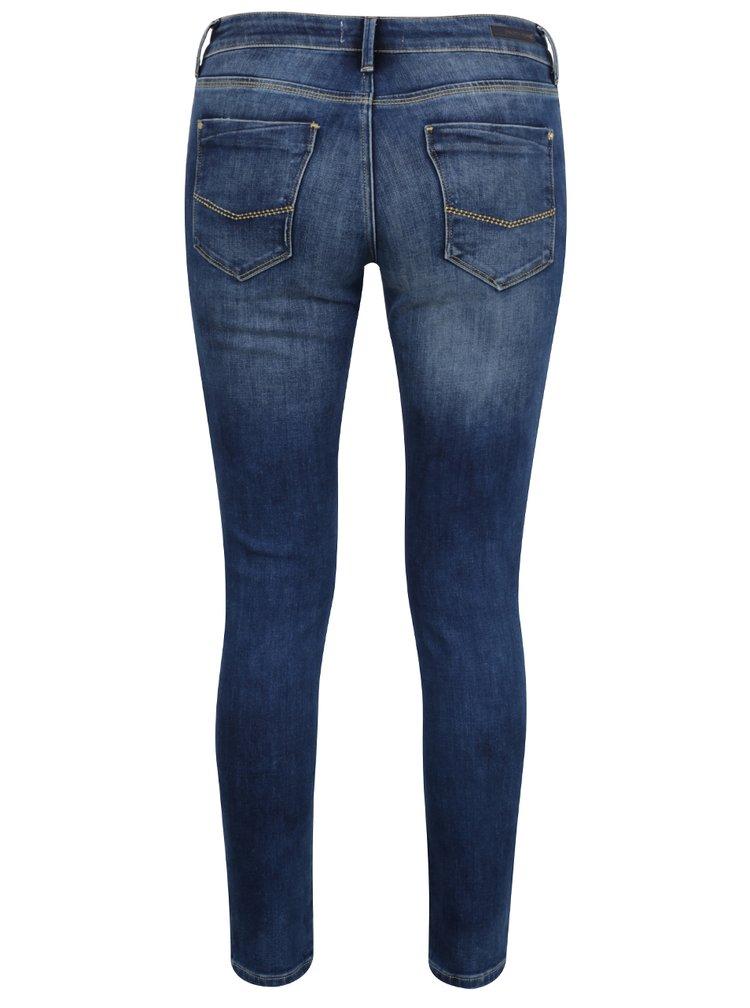 Blugi albaștri Cross Jeans Giselle skinny fit cu aspect deteriorat