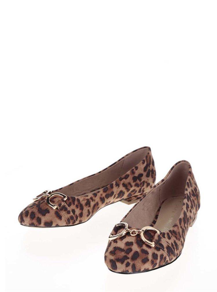 Hnědé baleríny s leopardím vzorem Dorothy Perkins