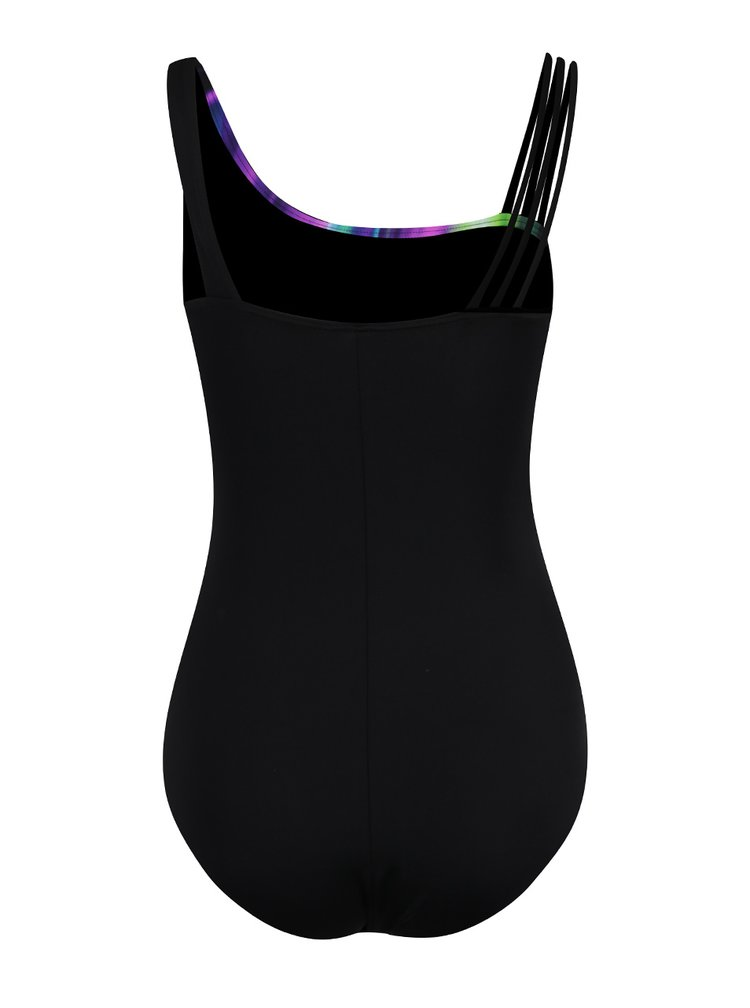 Fialovo-černé jednodílné plavky Gina Laura