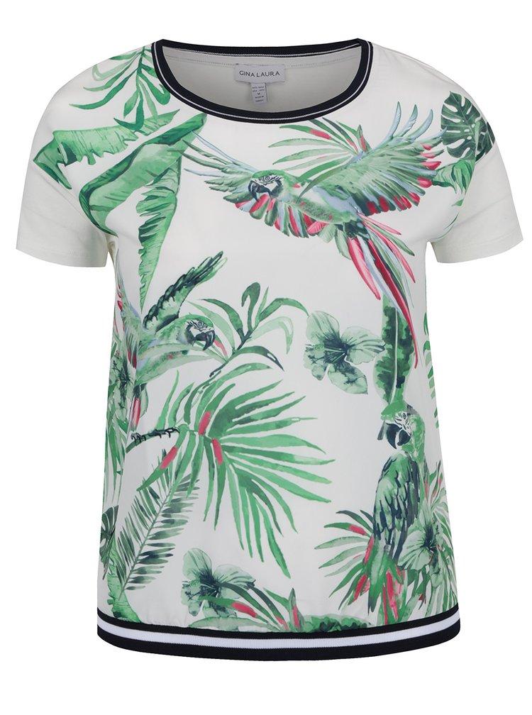 Tricou alb fildeș Gina Laura cu print tropical verde