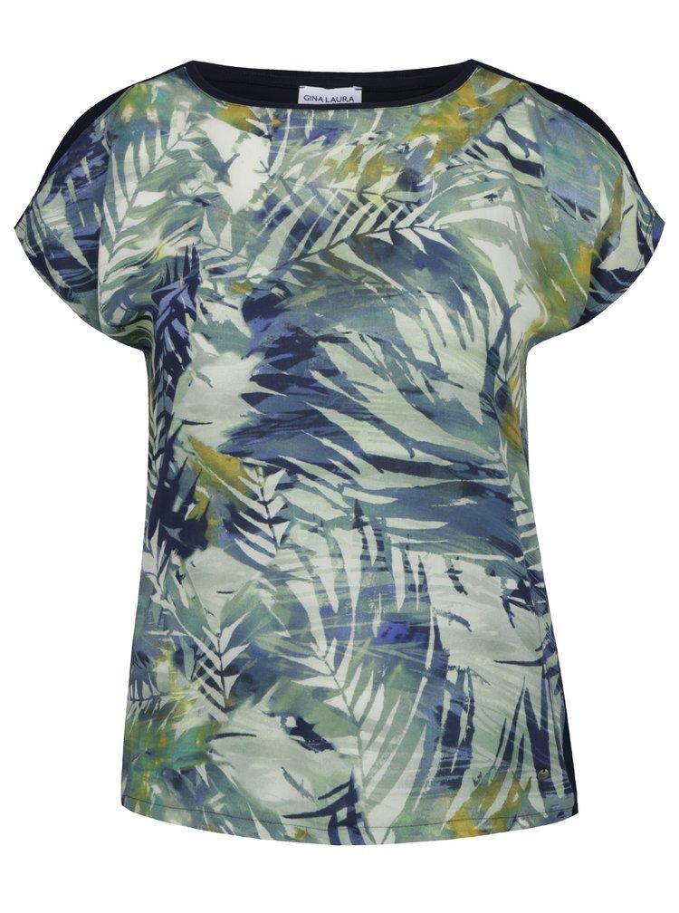 Modro-zelené tričko s průstřihy na rukávech Gina Laura