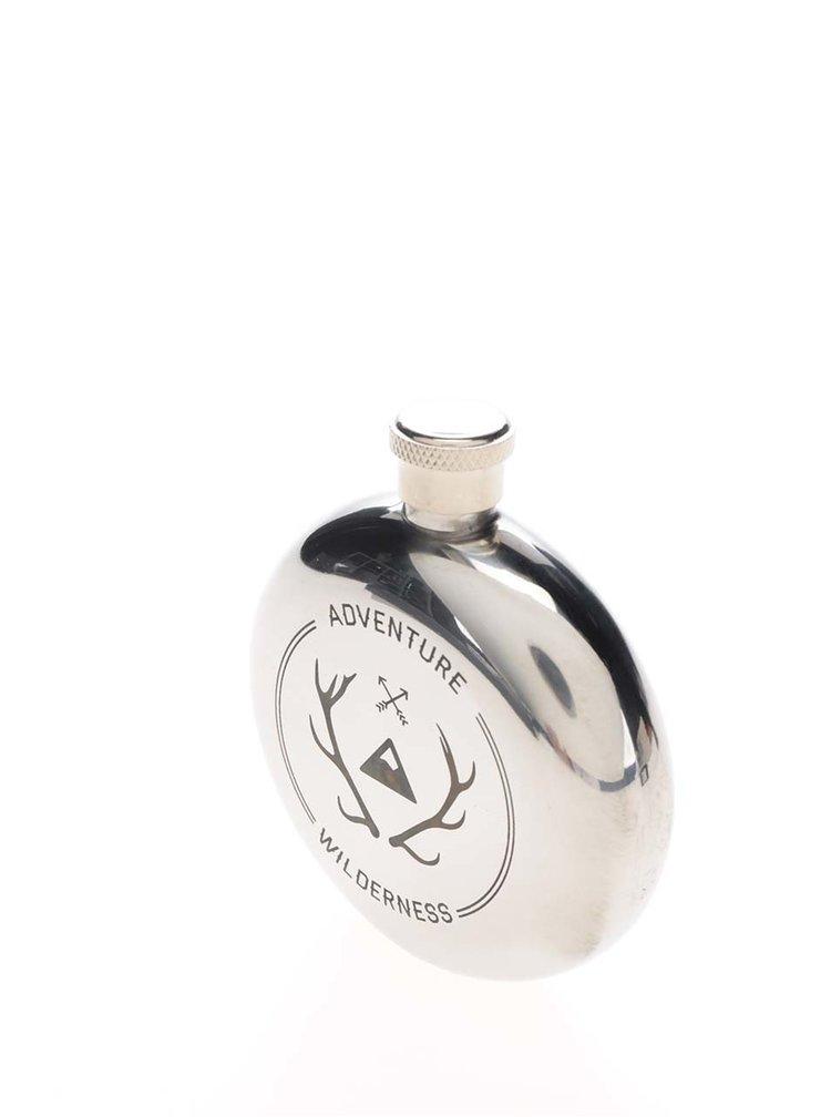Sticlă de buzunar argintie Kikkerland cu gravură