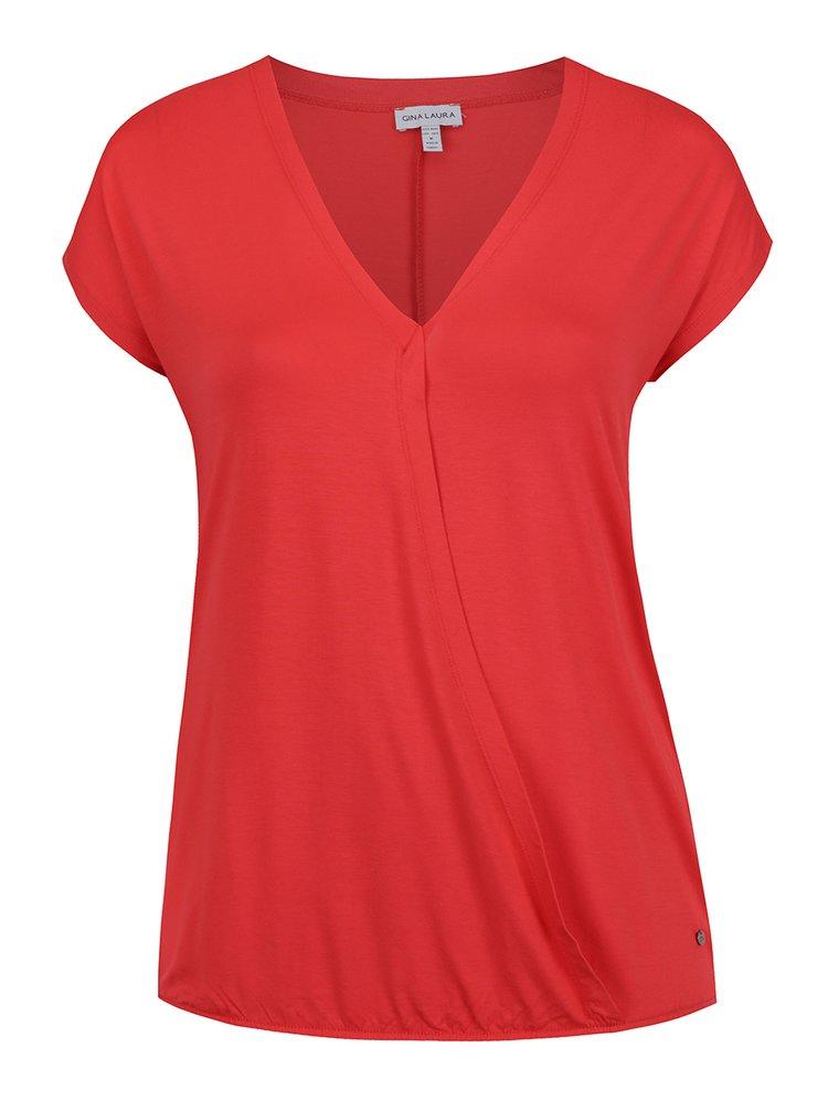 Červené tričko s překládanou přední částí Gina Laura