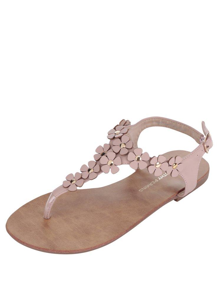 Starorůžové sandály s aplikací ve tvaru květů Dorothy Perkins