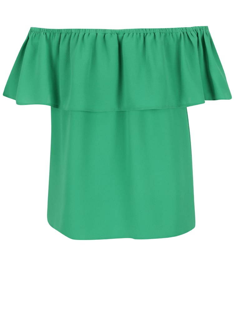 Bluză verde Dorothy Perkins cu volan amplu