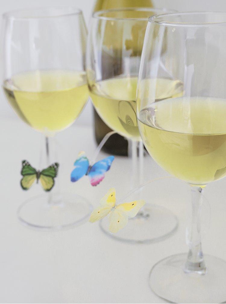 Sada 12 označovačů sklenic ve tvaru motýlů Kikkerland