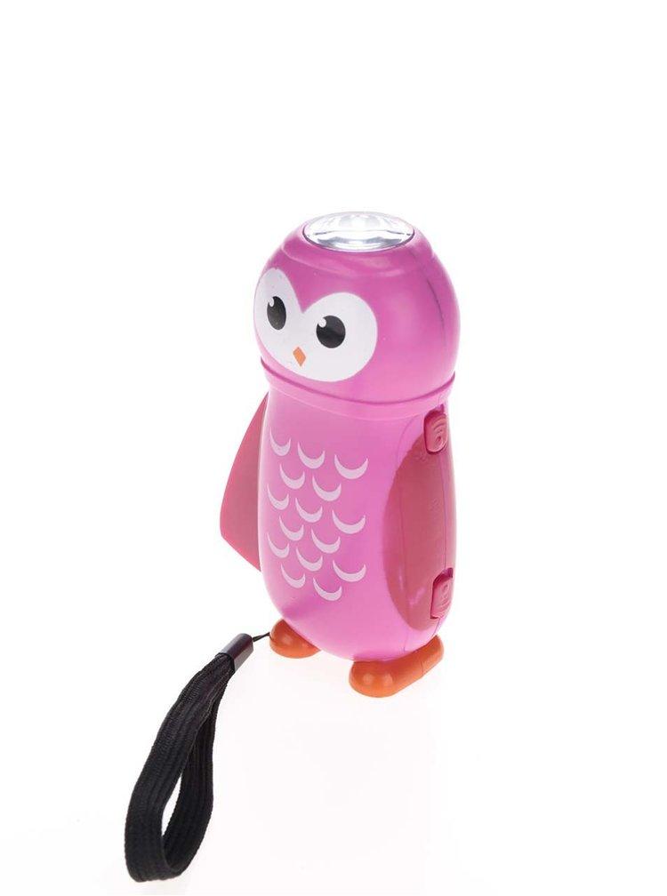 Lanterna roz cu dinamometru in forma de bufnita Kikkerland