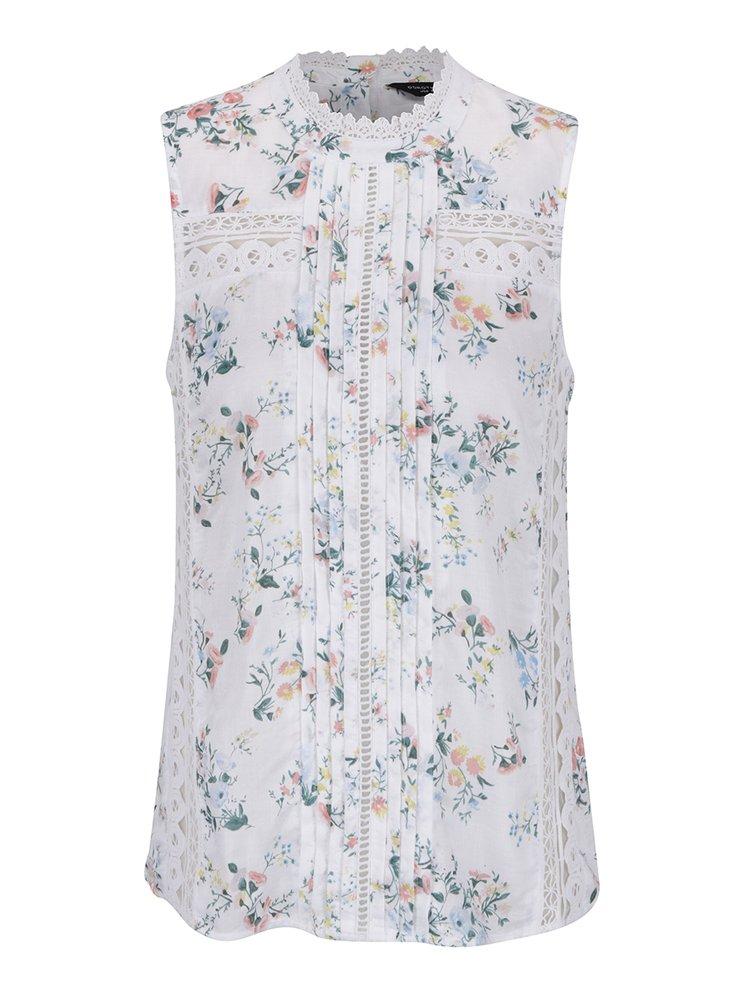 Krémová květovaná halenka s krajkovými detaily Dorothy Perkins