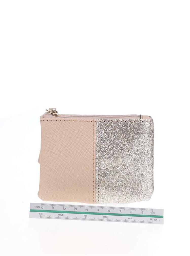Malá peněženka ve stříbrno-béžové barvě Dorothy Perkins