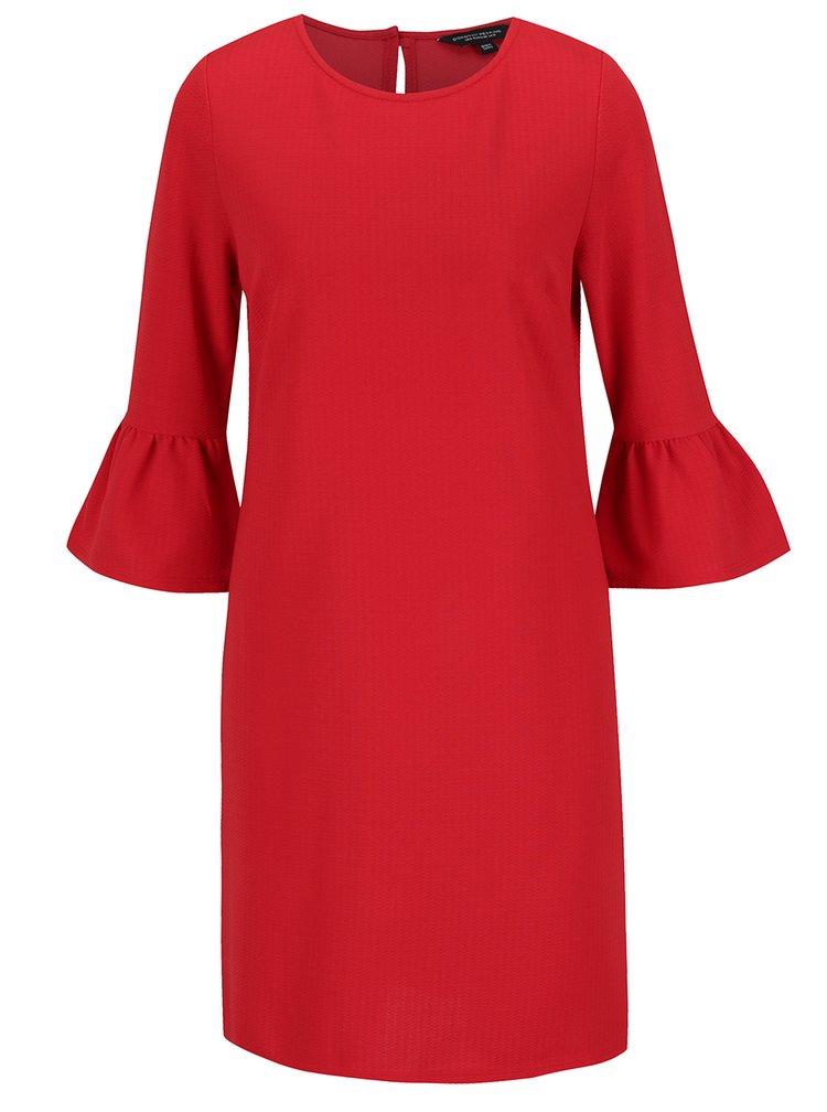 Červené volné šaty s volány na rukávech Dorothy Perkins