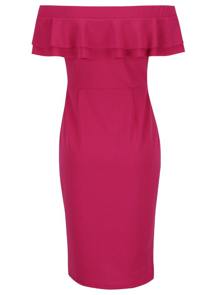 Růžové šaty s odhalenými rameny a volány Dorothy Perkins
