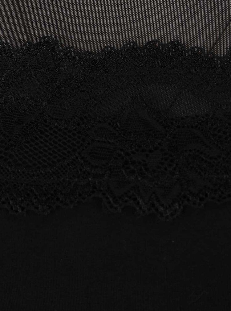 Čierne šaty s čipkovanými detailmi Dorothy Perkins