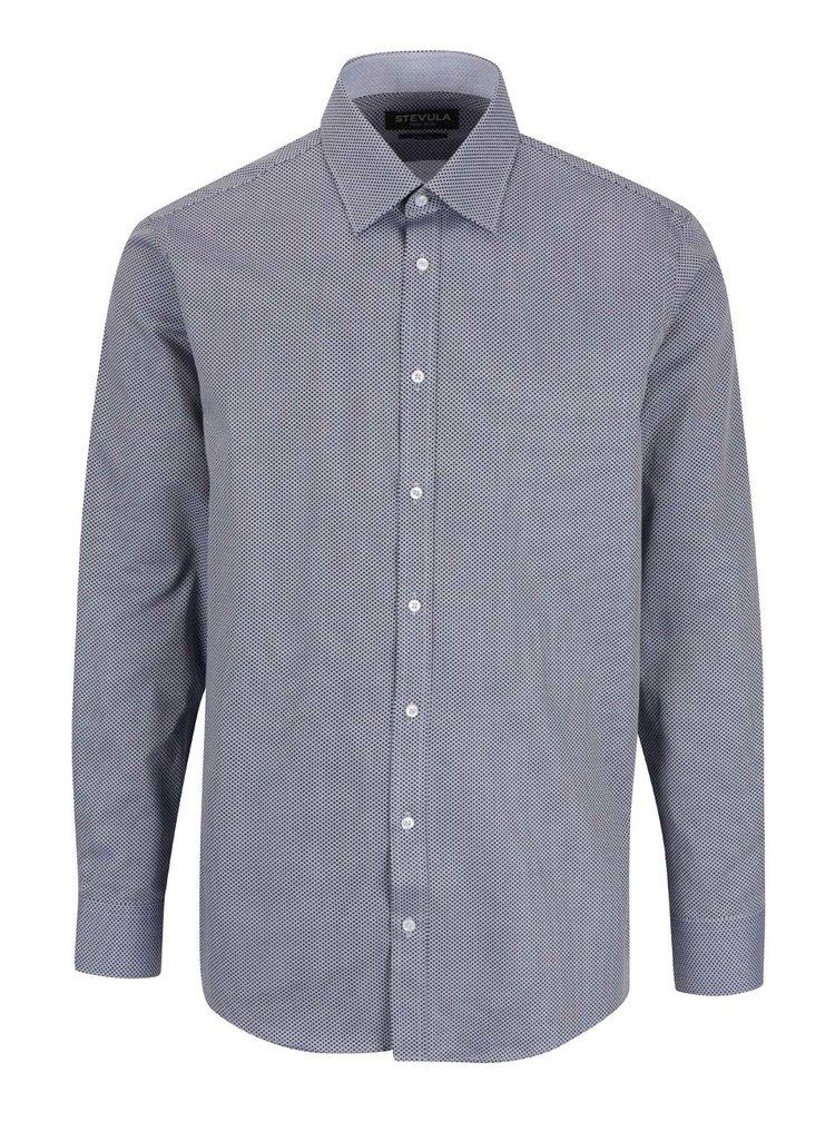 Modrá vzorovaná formálna pánska slim fit košeľa STEVULA