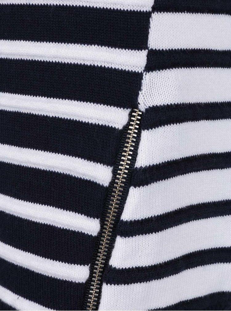 Bílo-modrý pruhovaný svetr s ozdobnými zipy Dorothy Perkins