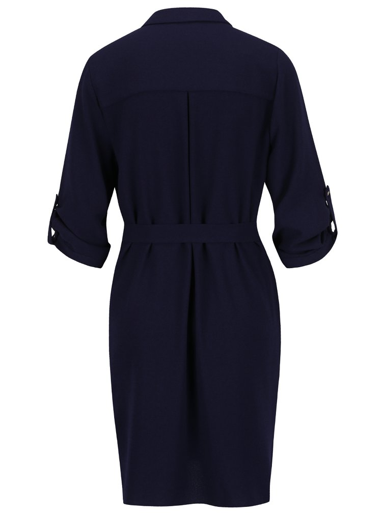 Tmavě modré volné košilové šaty Dorothy Perkins