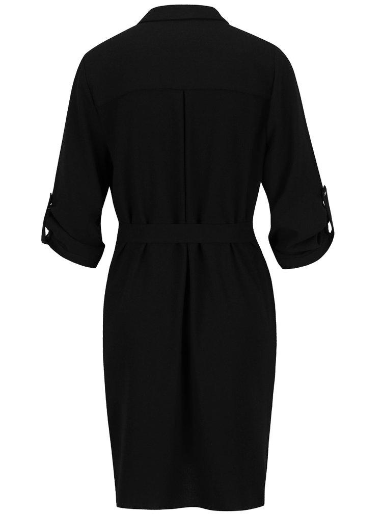 Černé volné košilové šaty Dorothy Perkins