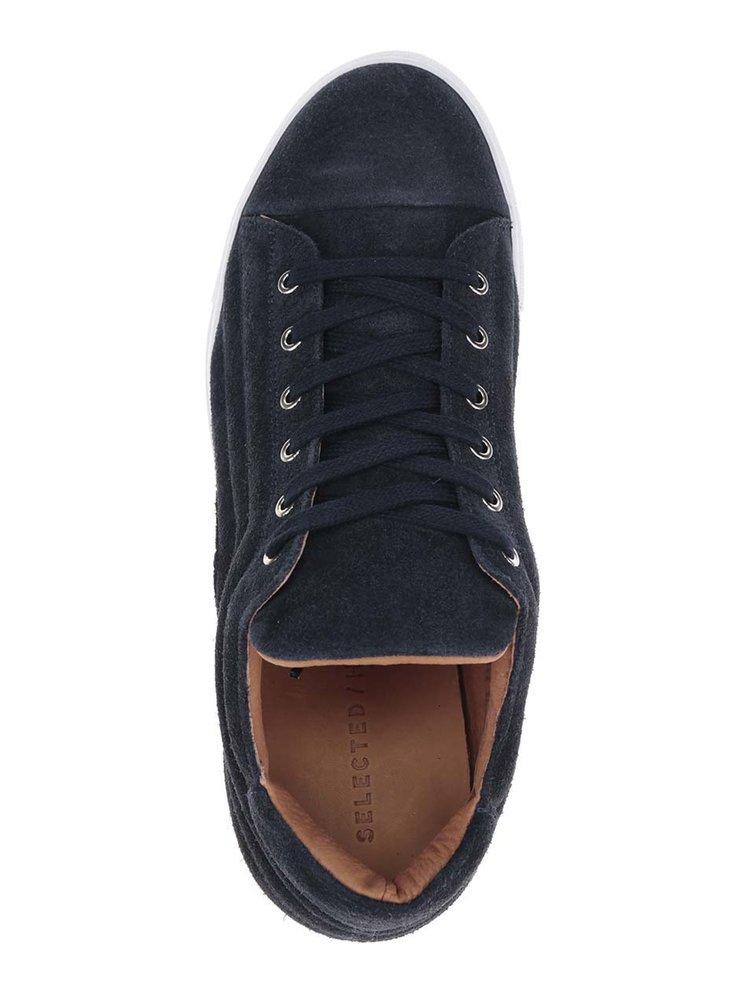Pantofi sport albastru închis Selected Homme Drake din piele întoarsă