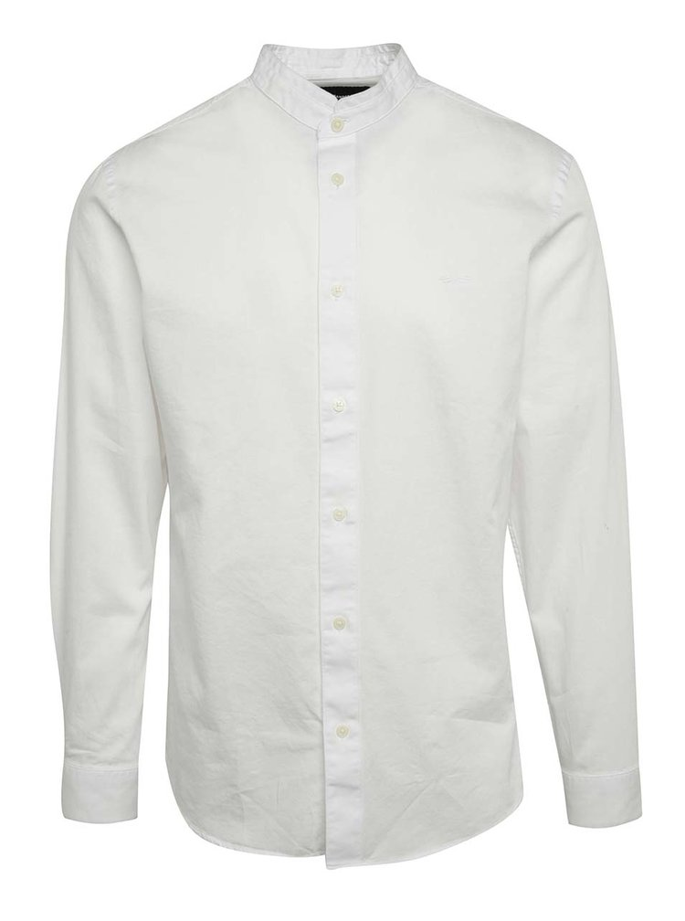 Camasa alba Selected Homme One Mao slim fit din bumbac cu guler tunica