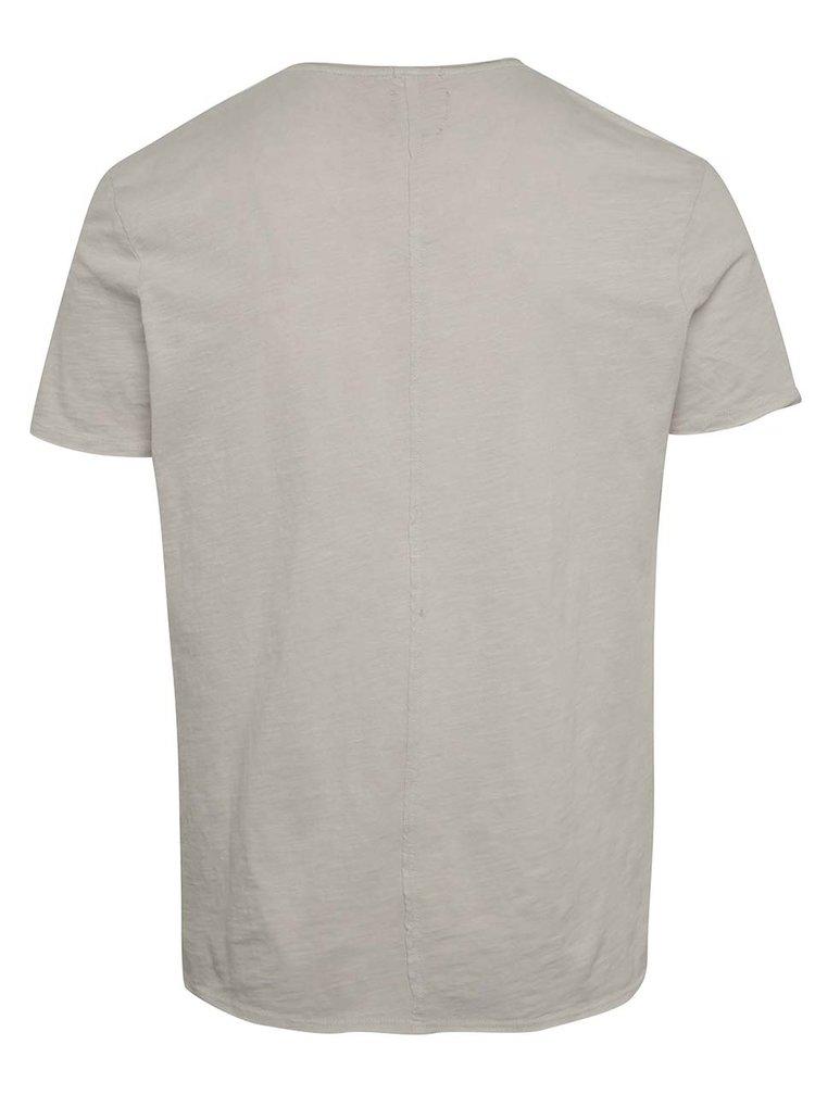 Béžové basic triko s náprsní kapsou Selected Homme Moon