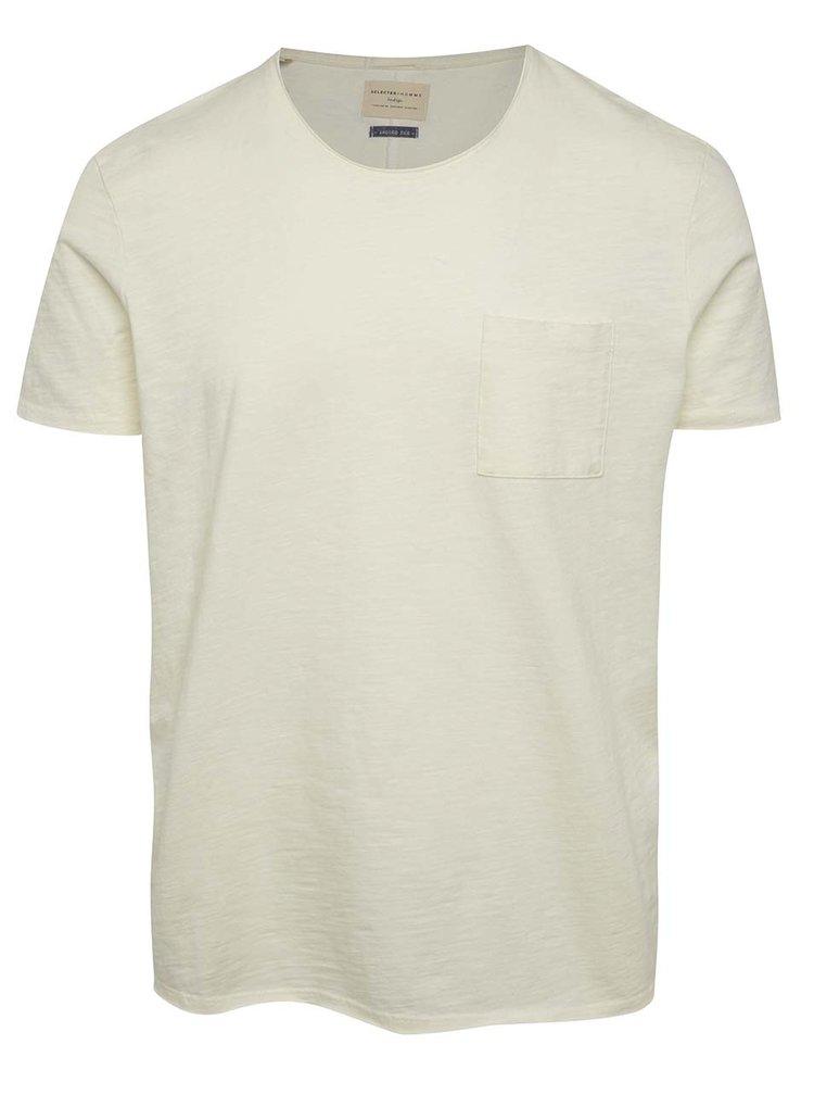 Krémové basic triko s náprsní kapsou Selected Homme Moon