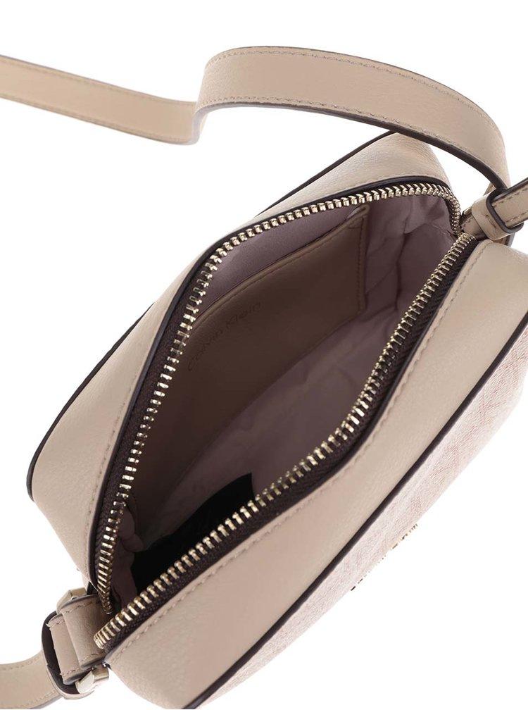 Světle hnědá vzorovaná crossbody kabelka Calvin Klein Jeans Tina