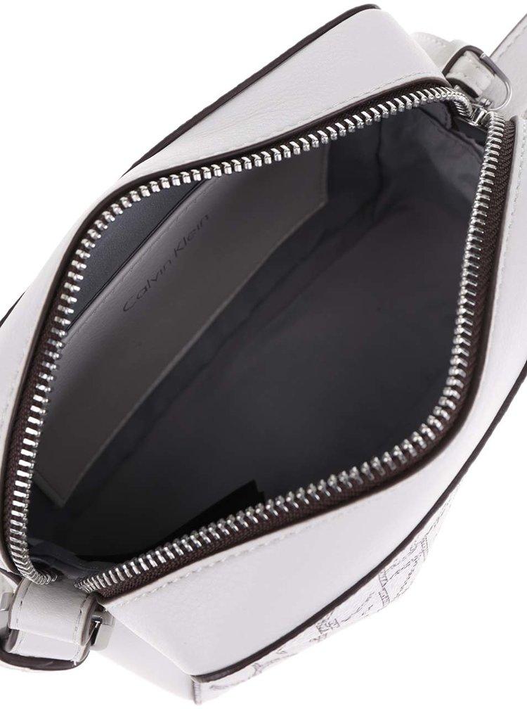 Bílá vzorovaná  crossbody kabelka Calvin Klein Jeans Tina