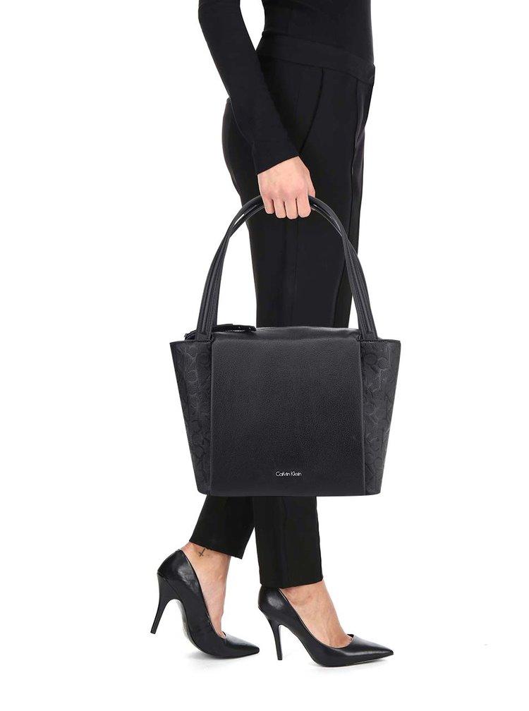 Černá vzorovaná kabelka Calvin Klein Jeans Misha