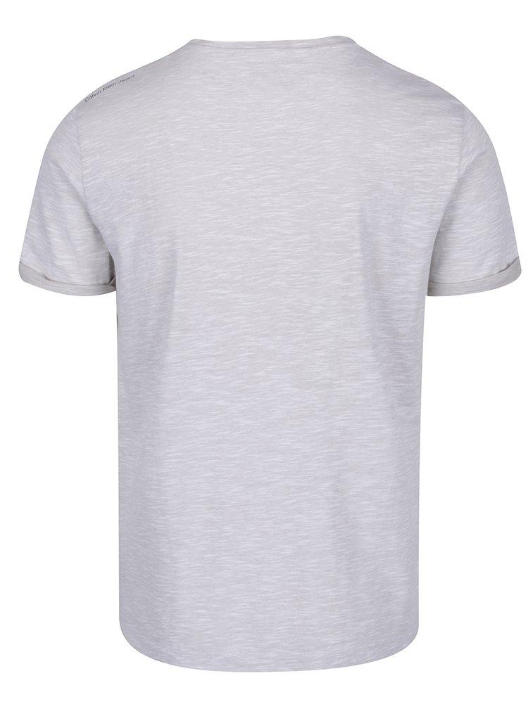 Šedé žíhané pánské triko s potiskem Calvin Klein Jeans
